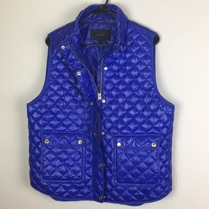J crew Puffer Down filled vest gold button quilted